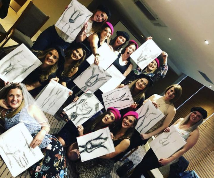 naked drawing hen party york